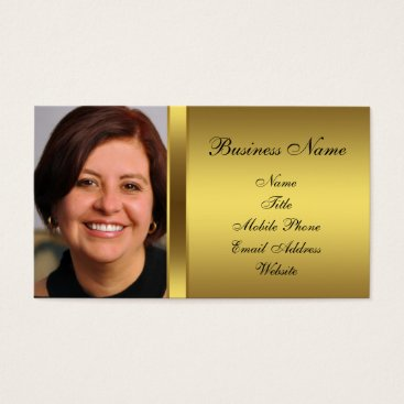 Professional Business Black Gold Black Photo Business Card
