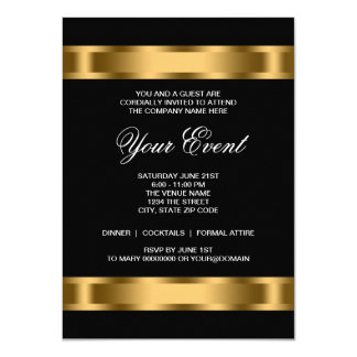 Black Gold Black Tie Corporate Party Card