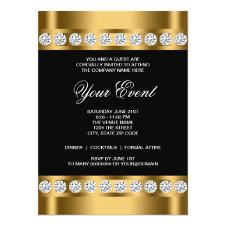 Black Gold Black Tie Corporate Party Template Card