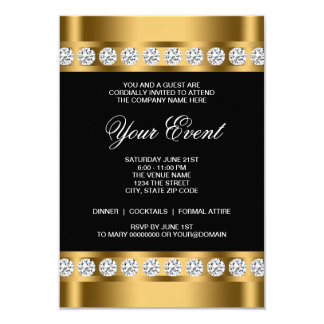 Black Gold Black Tie Corporate Party Template Personalized Announcement