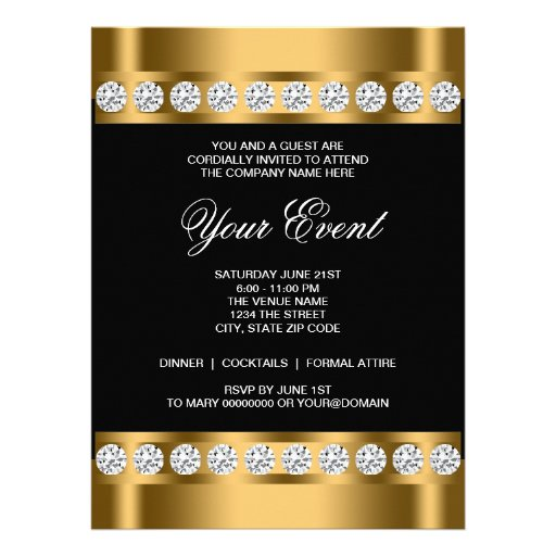 "Black Gold Black Tie Corporate Party Template 6.5"" X 8.75 ..."