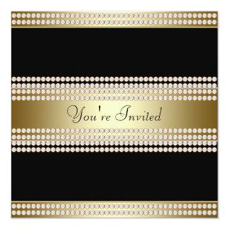 "Black Gold Black Tie Party Corporate Party 5.25"" Square Invitation Card"