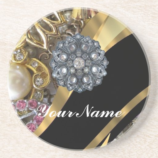 Black & gold bling coasters