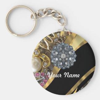 Black & gold bling keychain