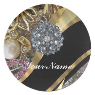 Black & gold bling melamine plate