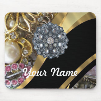 Black & gold bling mouse pad