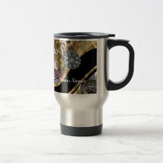 Black & gold bling 15 oz stainless steel travel mug
