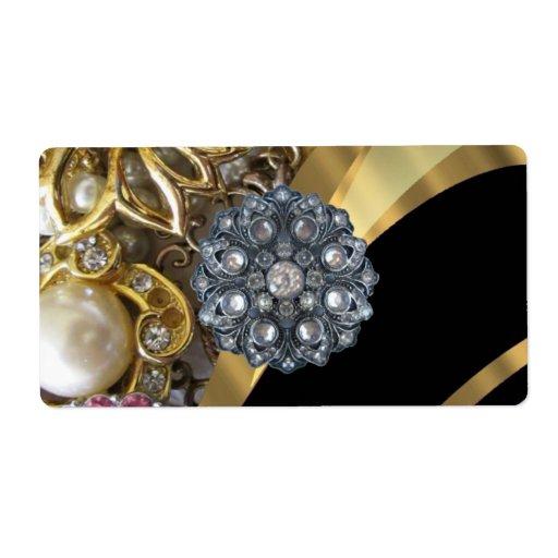 Black & gold bling shipping label