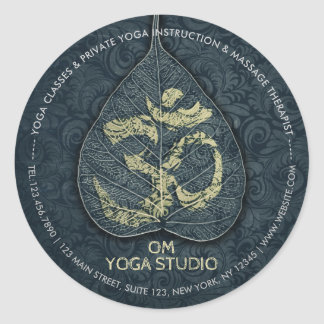 Black & Gold Bodhi Leaf OM Symbol YOGA Instructor Classic Round Sticker