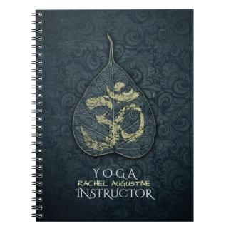 Black & Gold Bodhi Leaf OM Symbol YOGA Instructor Notebook
