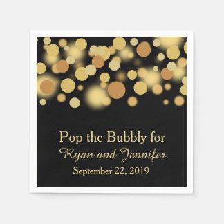 Black Gold Bokeh Personalized Wedding Napkins Paper Napkins
