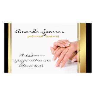 Black & Gold Border Manicure White Business Card
