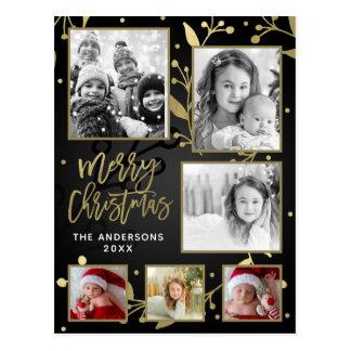 Black & Gold Botanical Merry Christmas 6 Photo Postcard
