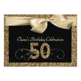 "Black Gold Bow 50th Woman's Birthday Invitation 5"" X 7"" Invitation Card"