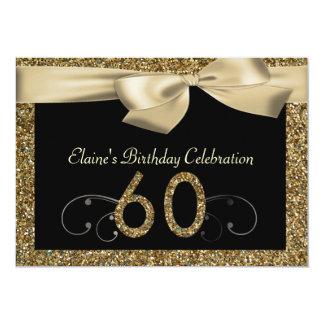 "Black Gold Bow 60th Woman's Birthday Invitation 5"" X 7"" Invitation Card"