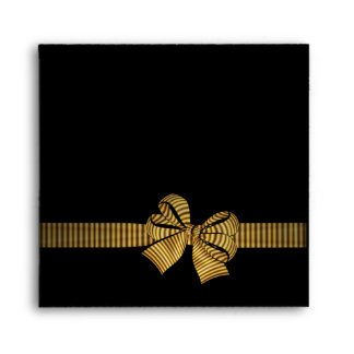 Black & Gold Bow Black Envelopes
