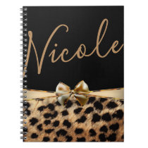 Black Gold Bow Leopard Cheetah Print Personalized Notebook