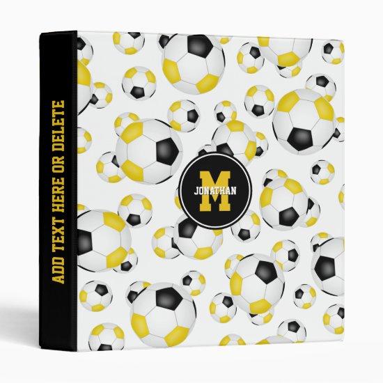 black gold boys girls school colors soccer ball 3 ring binder
