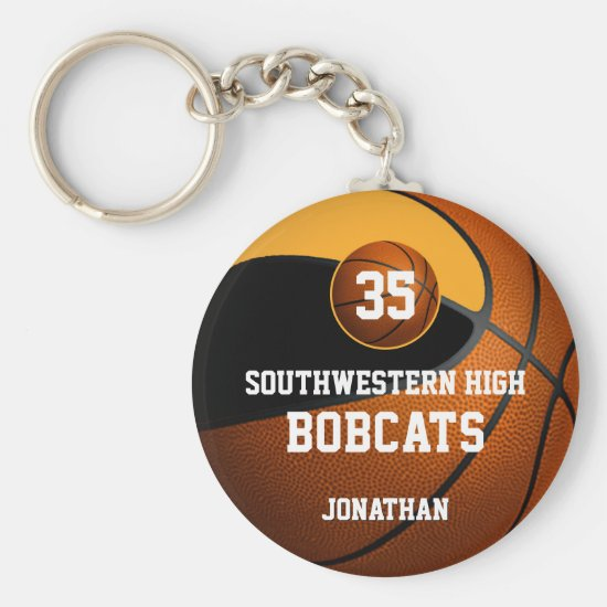 Black gold boys' sports basketball team spirit keychain
