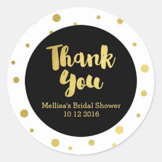 Black Gold Bridal Shower Thank You Favor Sticker