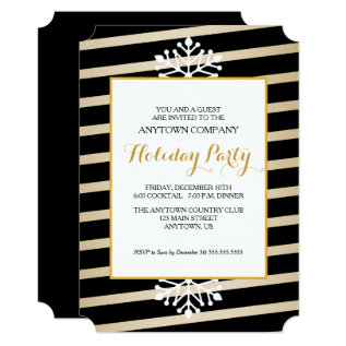 Black & Gold Business Christmas Party Card at Zazzle