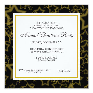 Black & Gold Business Professional Christmas Party 5.25x5.25 Square Paper Invitation Card