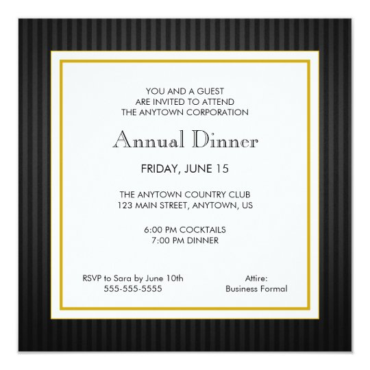 Black gold business professional dinner invitation zazzle black gold business professional dinner invitation stopboris Gallery