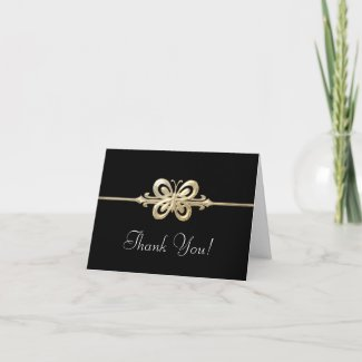 gold butterfly thank you cards