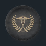 "Black Gold Caduceus Medical Symbol Doctor/Nurse Paper Plate<br><div class=""desc"">The caduceus can easily be re-sized and moved. Text can be added. Other colors available in my store.</div>"