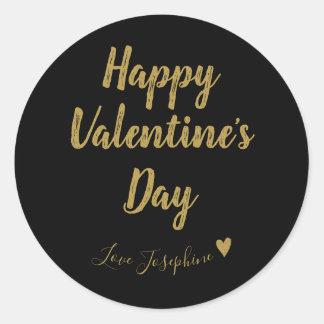 Black & Gold Calligraphy Valentine Classic Round Sticker