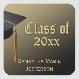Black/Gold Cap and Tassel Personalized Graduation Square Sticker