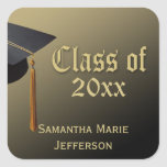 Black/Gold Cap and Tassel Personalized Graduation Stickers