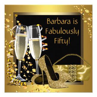 Black Gold Champagne Birthday Party Invites