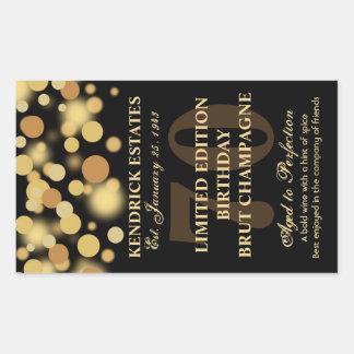 Black Gold Champagne Bubbles Birthday Label 750ml Rectangle Sticker