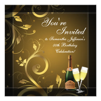 Black/Gold Champagne Custom 50th Birthday Party Personalized Announcements