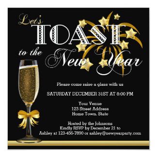Black Gold Champagne New Years Eve Invitation