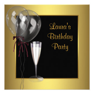 Black Gold Champagne Womans Birthday Party Custom Invite