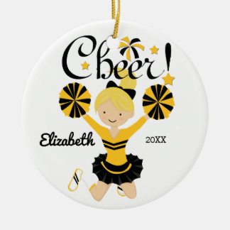 Black & Gold Cheer Blonde Cheerleader Ornament