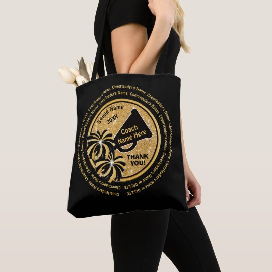 Black Gold Cheer Coach Tote Bags, All Cheerleaders