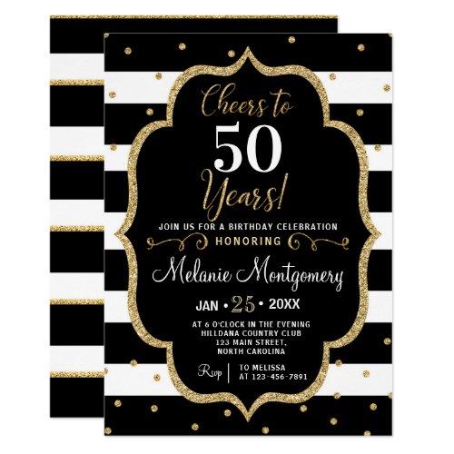 Black Gold Cheers Birthday Party Invitation