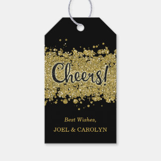 Black/Gold Cheers Faux-Glitter Stripes Custom Gift Tags