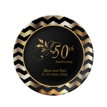Wedding Themed Black & Gold Chevron 50th Wedding Anniversary Porcelain Plate