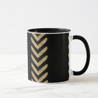 Black Gold Chevron Arrows Stripes Mug