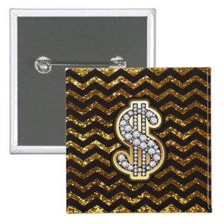 Black & Gold Chevron Diamond & Gold Dollar Sign 2 Inch Square Button