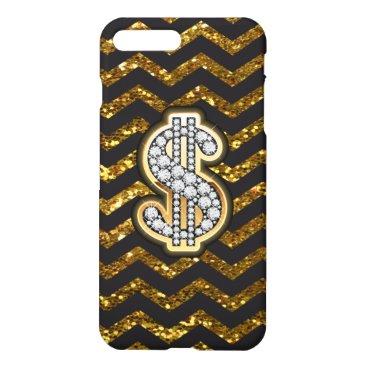 Professional Business Black & Gold Chevron Diamond & Gold Dollar Sign iPhone 8 Plus/7 Plus Case