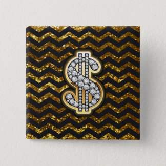 Black & Gold Chevron Diamond & Gold Dollar Sign Pinback Button
