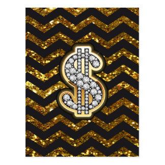 Black & Gold Chevron Diamond & Gold Dollar Sign Postcard
