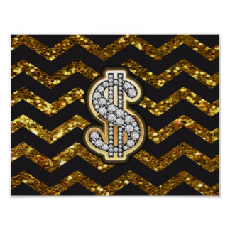 Black & Gold Chevron Diamond & Gold Dollar Sign Poster