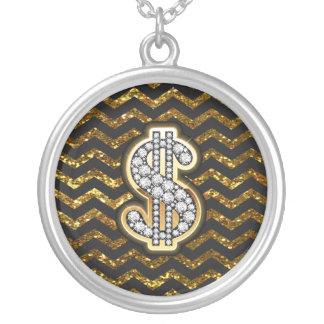 Black & Gold Chevron Diamond & Gold Dollar Sign Round Pendant Necklace