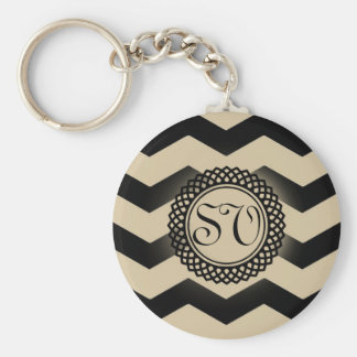 Black & Gold Chevron Monogram Keychain